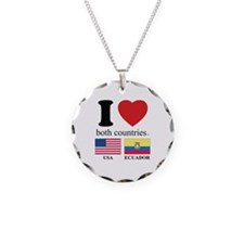 USA-ECUADOR Necklace Circle Charm
