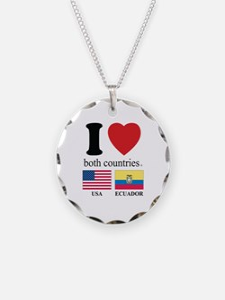 USA-ECUADOR Necklace Circle Charm