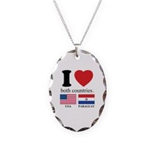 USA-PARAGUAY Necklace Oval Charm