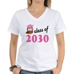 Class of 2030 (Owl) Women's V-Neck T-Shirt