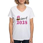 Class of 2028 (Owl) Women's V-Neck T-Shirt