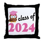 Class of 2024 (Owl) Throw Pillow