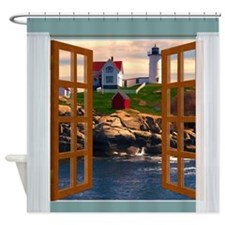 Window View Lighthouse Sunset Shower Curtain