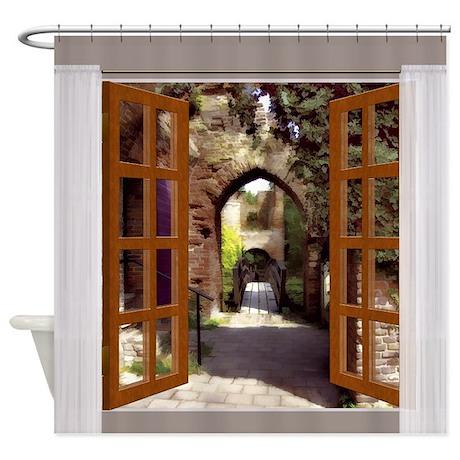 Window View Old Spanish Courtyard Shower Curtain By Digitalrealityart