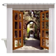 Window View Old Spanish Courtyard Shower Curtain