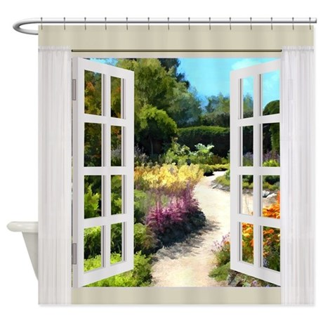 Shower curtain white waterproof window curtains in - Window View Of Garden Path Shower Curtain By Digitalrealityart