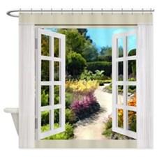 Window View of Garden Path Shower Curtain