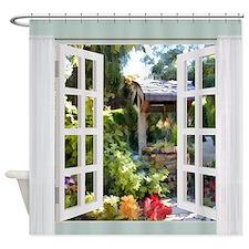 Window View Garden Wishing Well Shower Curtain