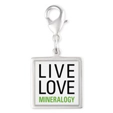 Live Love Mineralogy Silver Square Charm