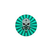 Teal Blue Post Apocalyptic Sugar Skull Mini Button