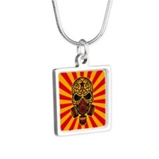 Red and Yellow Post Apocalyptic Sugar Skull Neckla