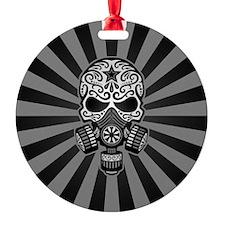 Gray and Black Post Apocalyptic Sugar Skull Ornament