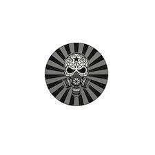 Gray and Black Post Apocalyptic Sugar Skull Mini B