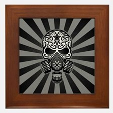 Gray and Black Post Apocalyptic Sugar Skull Framed