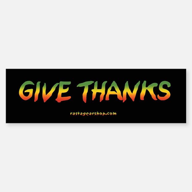 Rasta Give Thanks Bumper Bumper Bumper Sticker