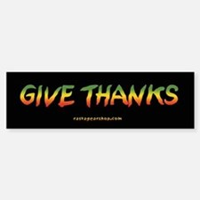 Rasta Give Thanks Bumper Car Car Sticker
