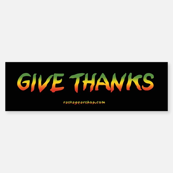 Rasta Give Thanks Bumper Car Car Sticker