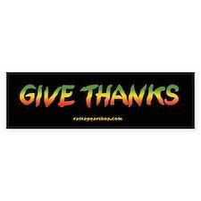Rasta Give Thanks Bumper Car Sticker