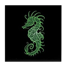Intricate Green on Black Tribal Seahorse Tile Coas