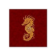 Intricate Golden Red Tribal Seahorse Sticker