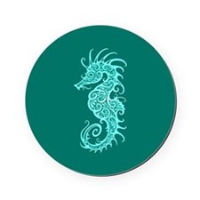 Intricate Teal Blue Tribal Seahorse Cork Coaster