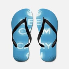 modern keep calm and carry on fashion Flip Flops