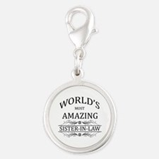 World's Most Amazing Sister-In Silver Round Charm