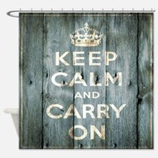 modern keep calm and carry on fashion Shower Curta