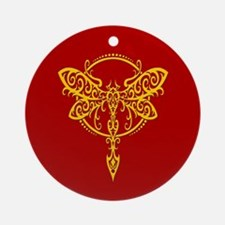 Yellow on Red Swirling Tribal Dragonfly Ornament (