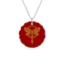 Yellow on Red Swirling Tribal Dragonfly Necklace