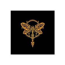 Yellow on Black Swirling Tribal Dragonfly Sticker