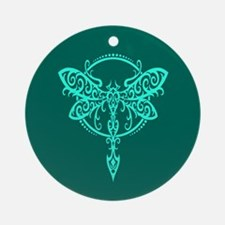 Teal Blue Swirling Tribal Dragonfly Ornament (Roun