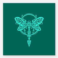 Teal Blue Swirling Tribal Dragonfly Square Car Mag