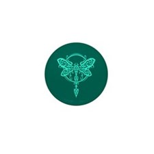 Teal Blue Swirling Tribal Dragonfly Mini Button (1