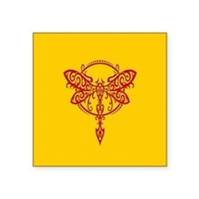 Red on Yellow Swirling Tribal Dragonfly Sticker