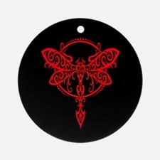 Red on Black Swirling Tribal Dragonfly Ornament (R