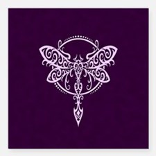 Purple Swirling Tribal Dragonfly Square Car Magnet