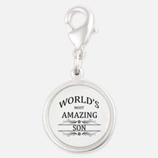World's Most Amazing Son Silver Round Charm