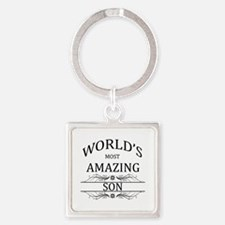 World's Most Amazing Son Square Keychain