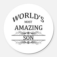 World's Most Amazing Son Round Car Magnet
