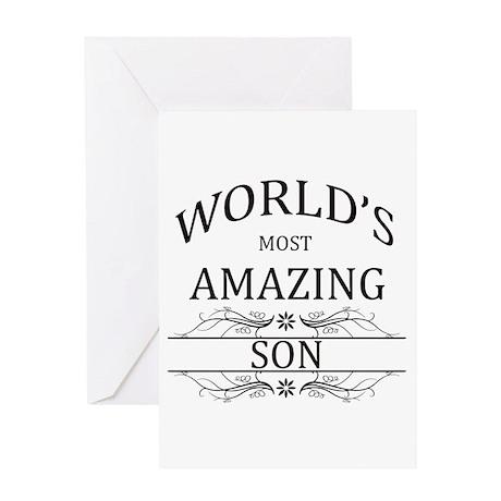 World's Most Amazing Son Greeting Card by WorldsMostAmazing