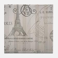 stripes elegant paris Eiffel tower floral art Tile