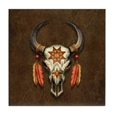 Decorated Native Bull Skull with Feathers Tile Coa