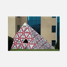 Triangular road sign sculpture, S Rectangle Magnet