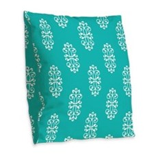 Aqua And White Damask Burlap Throw Pillow