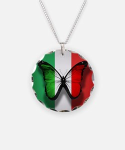 Italian Flag Butterfly Necklace