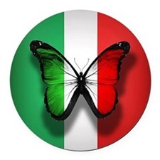 Italian Flag Butterfly Round Car Magnet