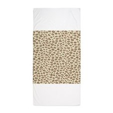 Pink Cream Leopard Print Beach Towel