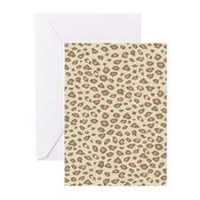 Pink Cream Leopard Print Greeting Cards