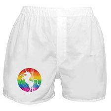 Retro Unicorn Rainbow Boxer Shorts